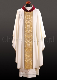 White chasuble with woven belt 2093